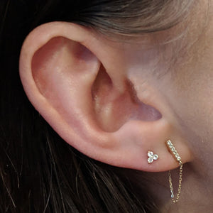 Crystal Trinity Studs in 14k Gold on model