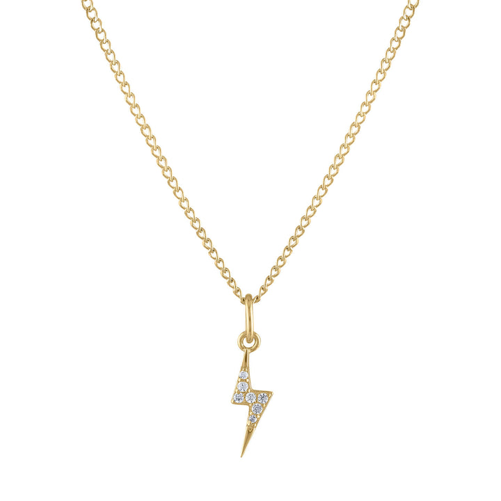 Mini Pave Lightning Charm Necklace in Gold