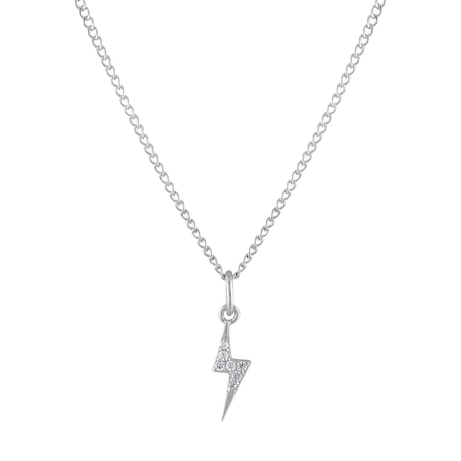 Mini Pave Lightning Charm Necklace in Sterling Silver