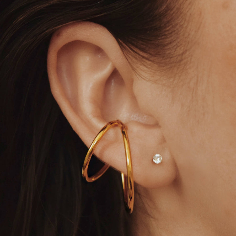 Celestial Crystal Push Pin Flat Back Earring in Gold on model