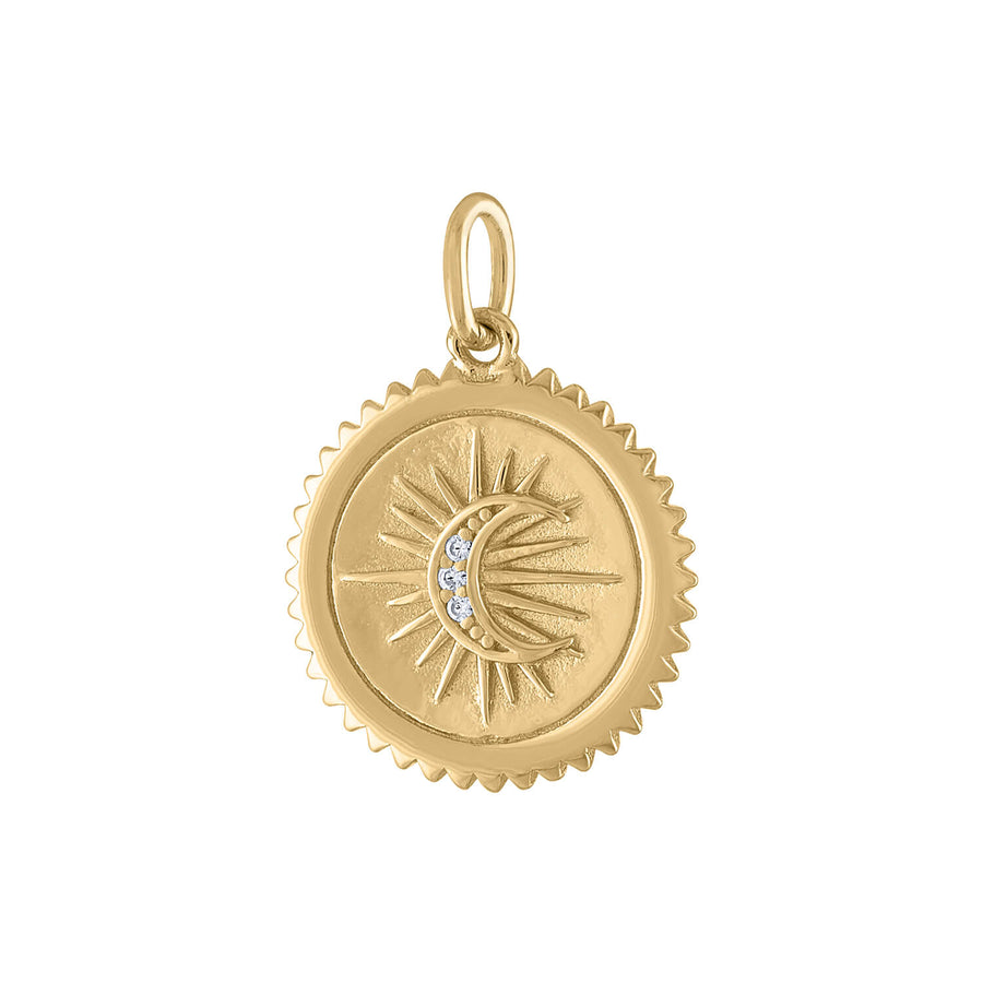 Pave Moon Medallion in Gold Vermeil