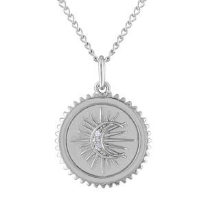 Pave Moon Medallion Necklace in Sterling Silver