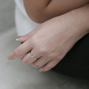 Moon and Star Ring on model