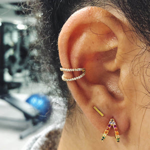Rainbow Infinite Huggie Earrings at Maison Miru Jewelry @maisonmiru