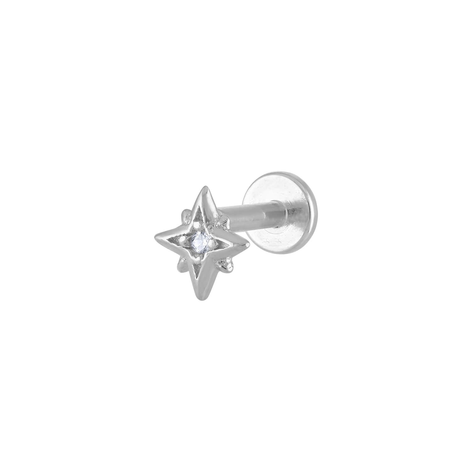 North Star Threaded Flat Back Earring in Silver