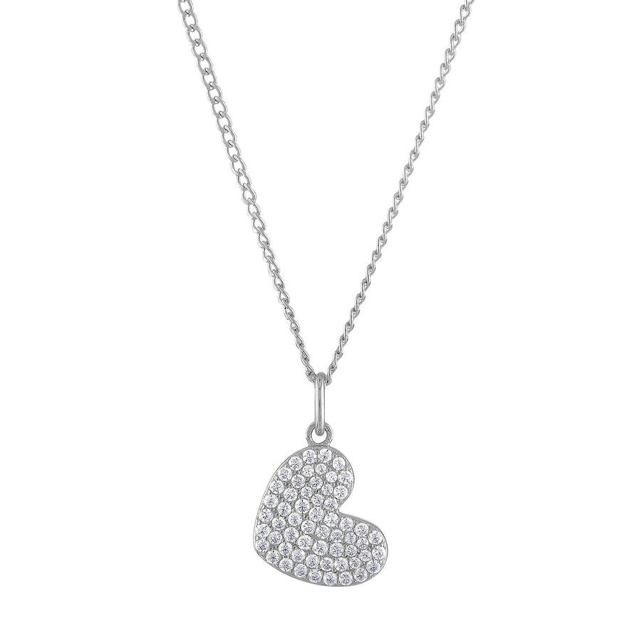 Pave Heart Charm Necklace in Sterling Silver