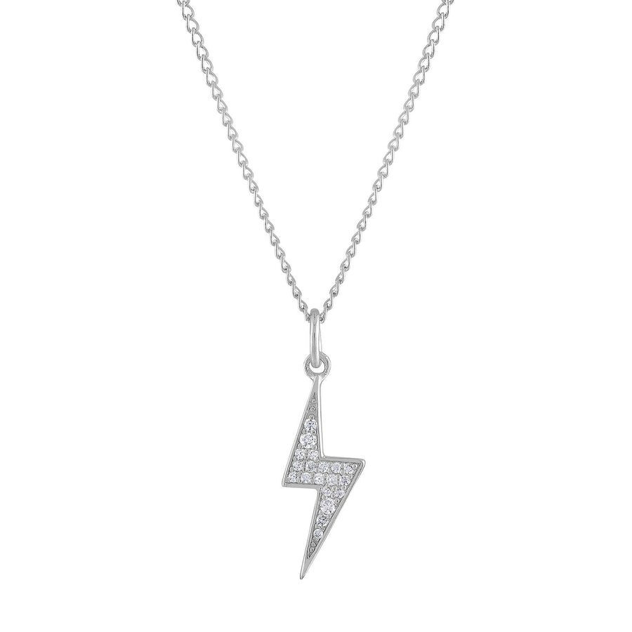 Pave Lightning Charm Necklace in Sterling Silver
