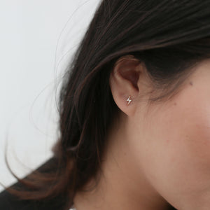 Pave Lightning Studs in 14k Gold on model