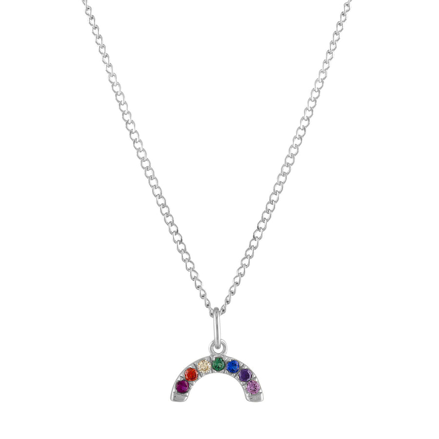 Rainbow Charm Necklace in Sterling Silver
