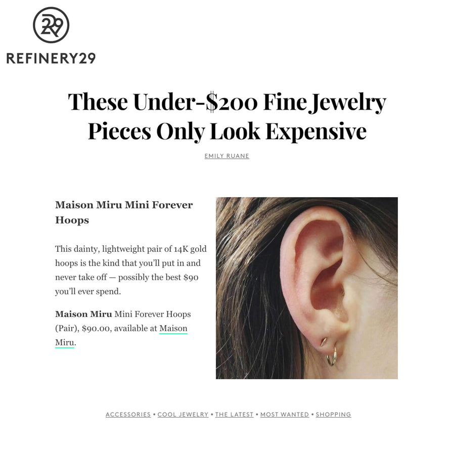 Mini Forever Hoops in 14k Gold as seen on Refinery 29