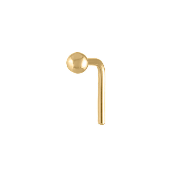Tiny Secret Stud L-Shape Nose Ring in 14k Gold