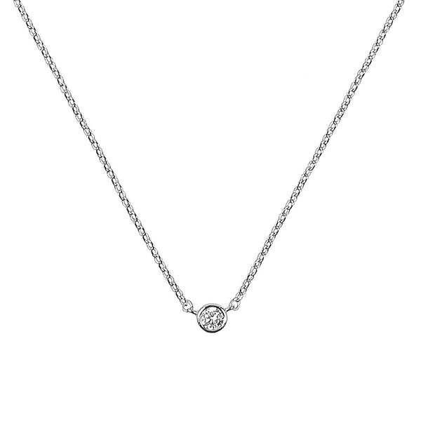 Zelda Necklace in Sterling Silver - Our delicate and dainty crystal solitaire silver necklace - Maison Miru Jewelry (@maisonmiru)
