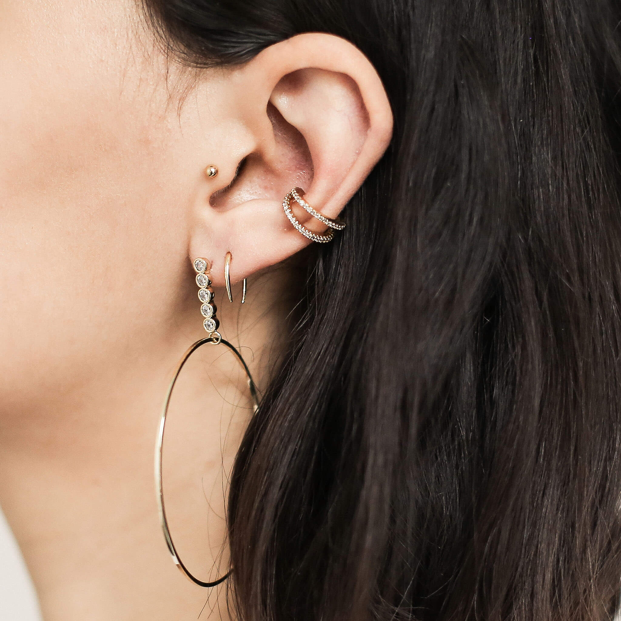 Little Sphere Push Pin Flat Back Earring in Gold on model