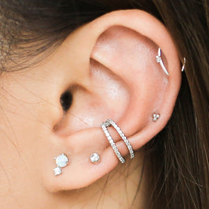 Surprise Ear Bar Trio in Sterling Silver on model