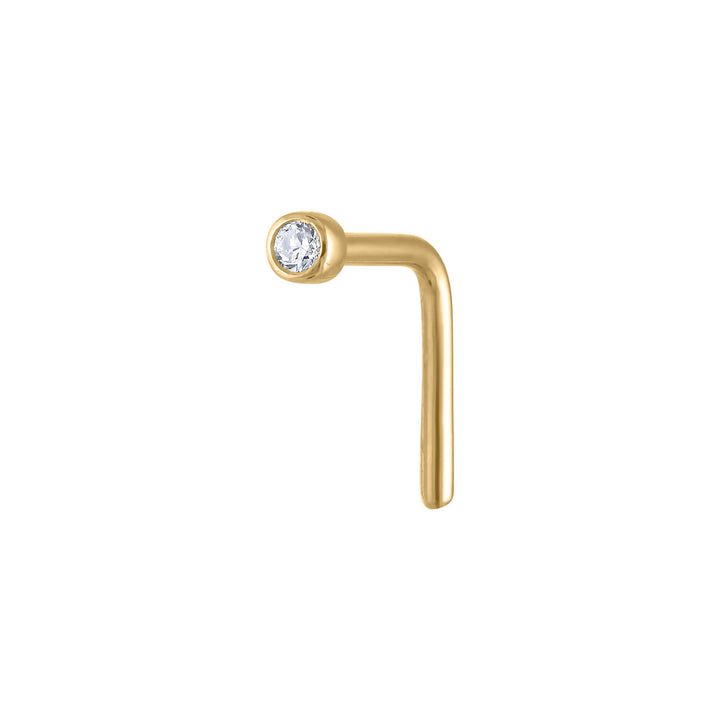 Tiny Diamond Stud L-Shape Nose Ring in 14k Gold