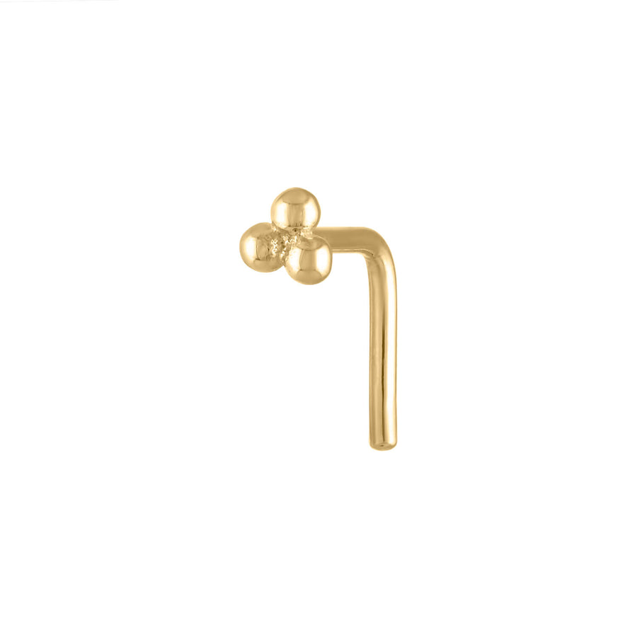 Tiny Trinity Stud L-Shape Nose Ring in 14k Gold
