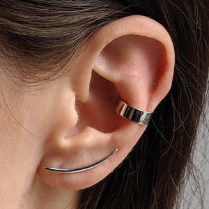 Rebel Ear Cuff Trio in Sterling Silver on model