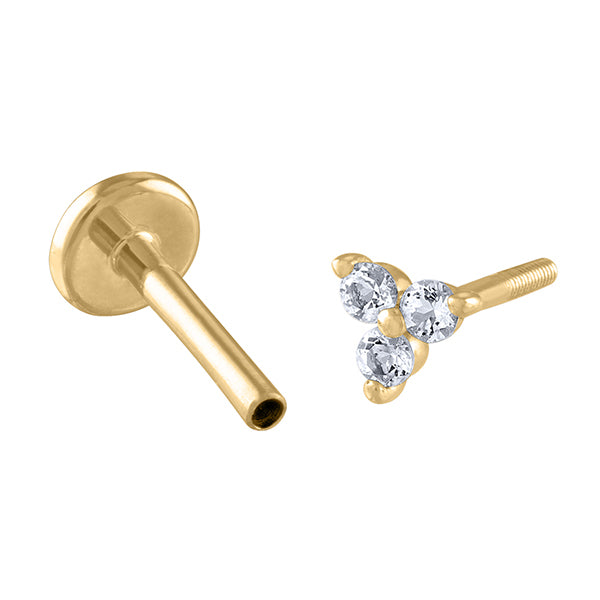 Crystal Trinity Flat Back Earring in 14k Gold