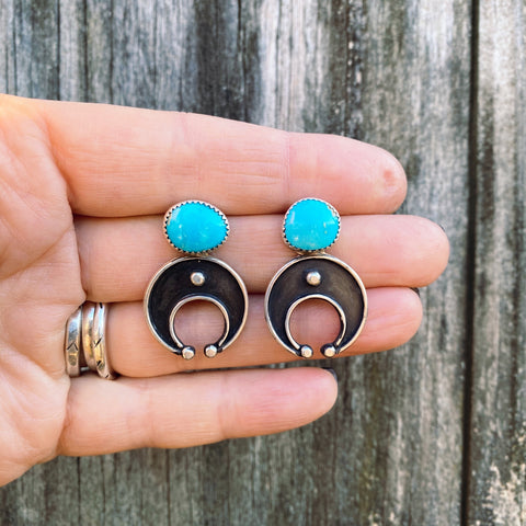 TURQUOISE LUNA STUD EARRINGS