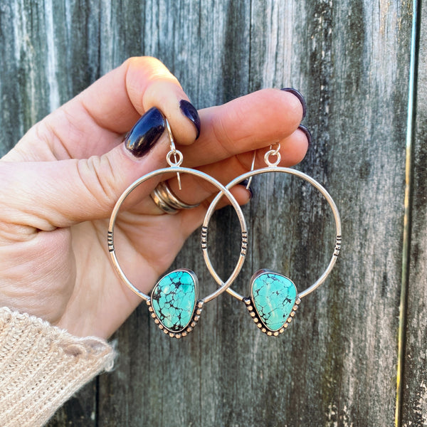 HUBEI TURQUOISE HOOP EARRINGS