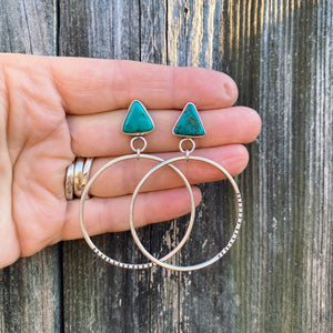 FOX TURQUOISE NUGGET HOOP EARRINGS