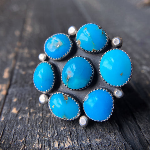 Cluster Ring - Sleeping Beauty Turquoise - Size 7 3/4