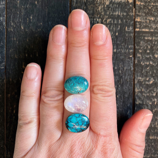 TRIPLE STONED RING - TURQUOISE + MOONSTONE - FOUR