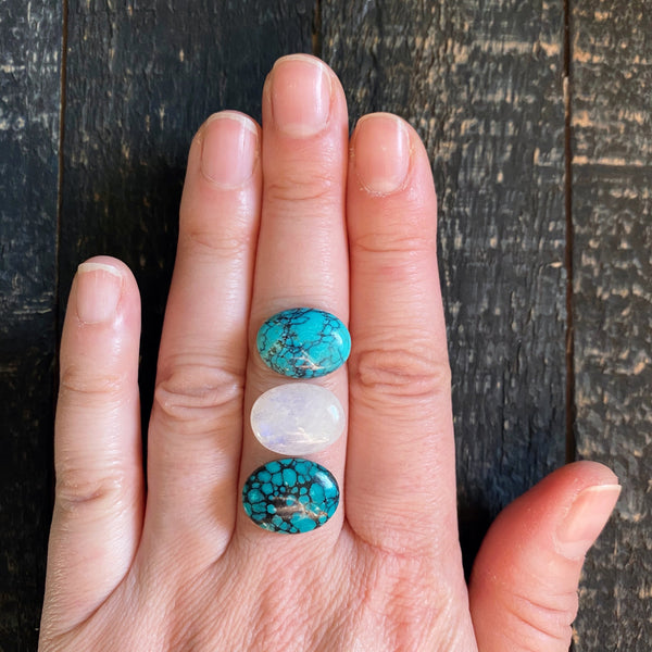 TRIPLE STONED RING - TURQUOISE + MOONSTONE - ONE
