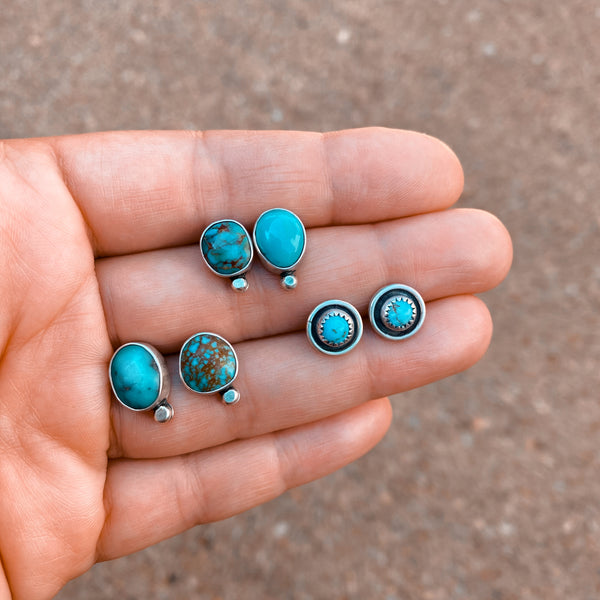 DROP STUD EARRINGS - TURQUOISE - NO. 1