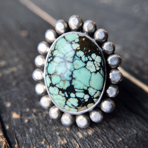 Small Raindrops Ring - Saguaro Variscite - Size 8 1/4