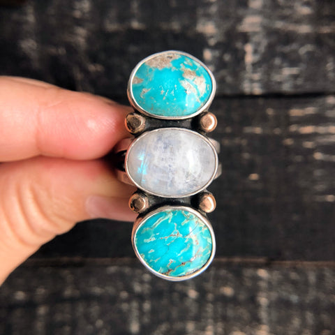 TRIPLE STONED RING - TURQUOISE + MOONSTONE - SIZE 8.25