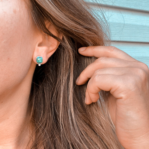 DROP STUD EARRINGS - TURQUOISE - NO. 2