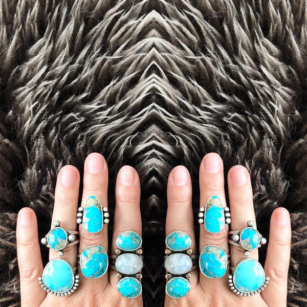 HALF DOME RING - TURQUOISE - SIZE 7.5