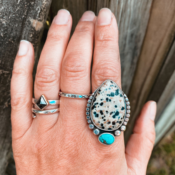 WARRIOR RING NO.14 - PYRITE + TURQUOISE
