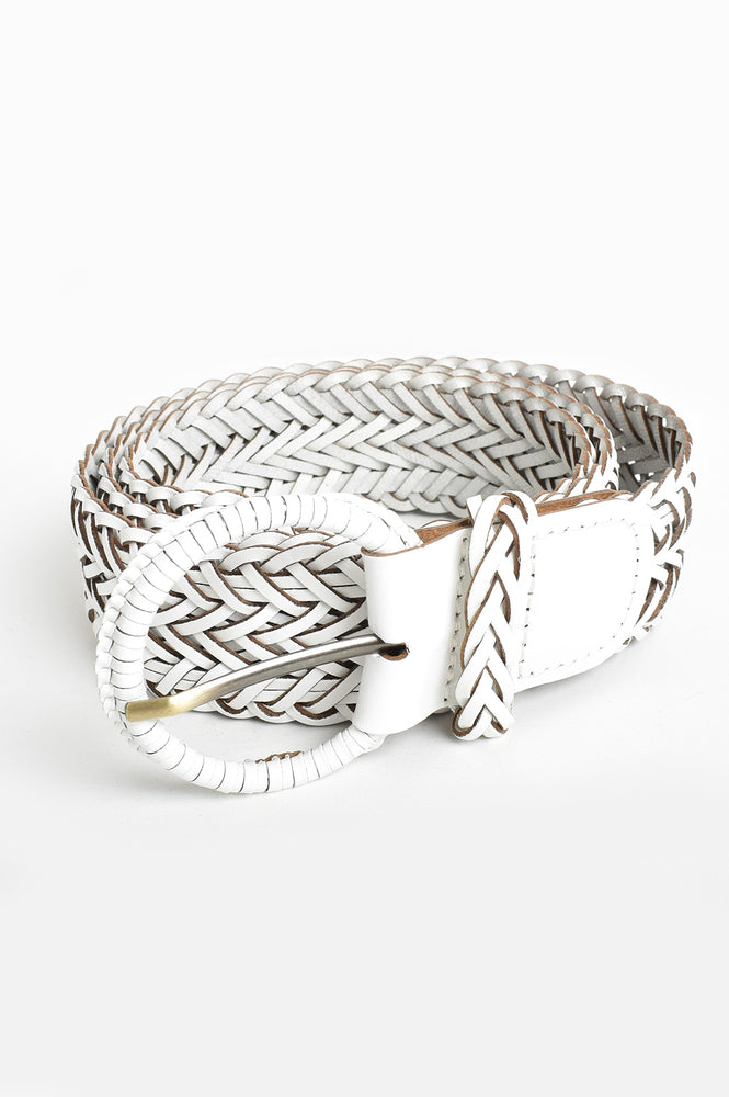 Nelly Plaited Leather Belt (White)