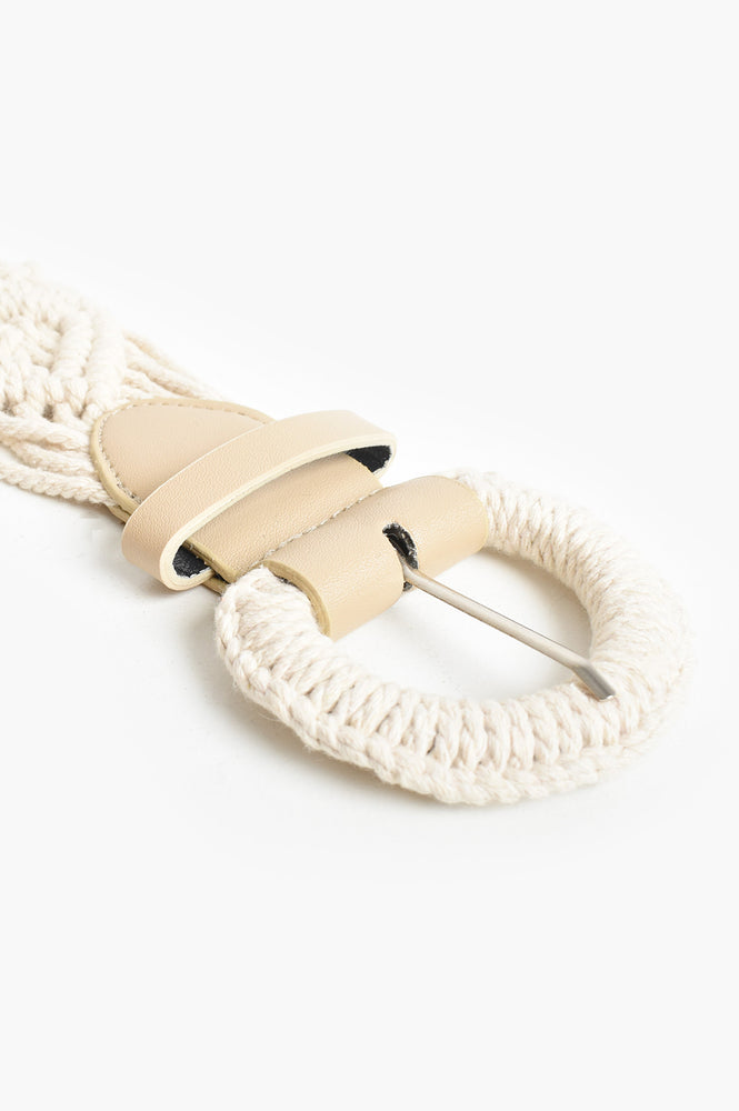 Macrame Diamond Weave Buckle Belt (Cream)