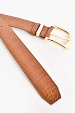 Tash Croc Embossed Belt (Tan)