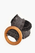 Plait & Fringe Faux Leather Belt (Black)