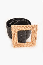 Rattan Square Buckle Stretch Belt (Black)