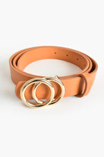 Seeing Double Ring Belt (Tan/Gold)