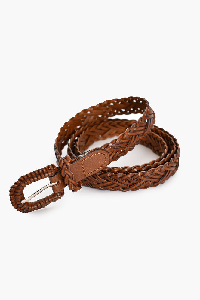Thin Plait Covered Buckle Leather Belt (Light Tan)