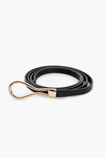 Loop Buckle Fine Leather Belt (Black)