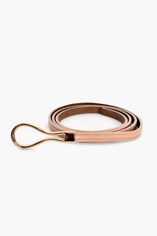 Loop Buckle Fine Leather Belt (Nude)