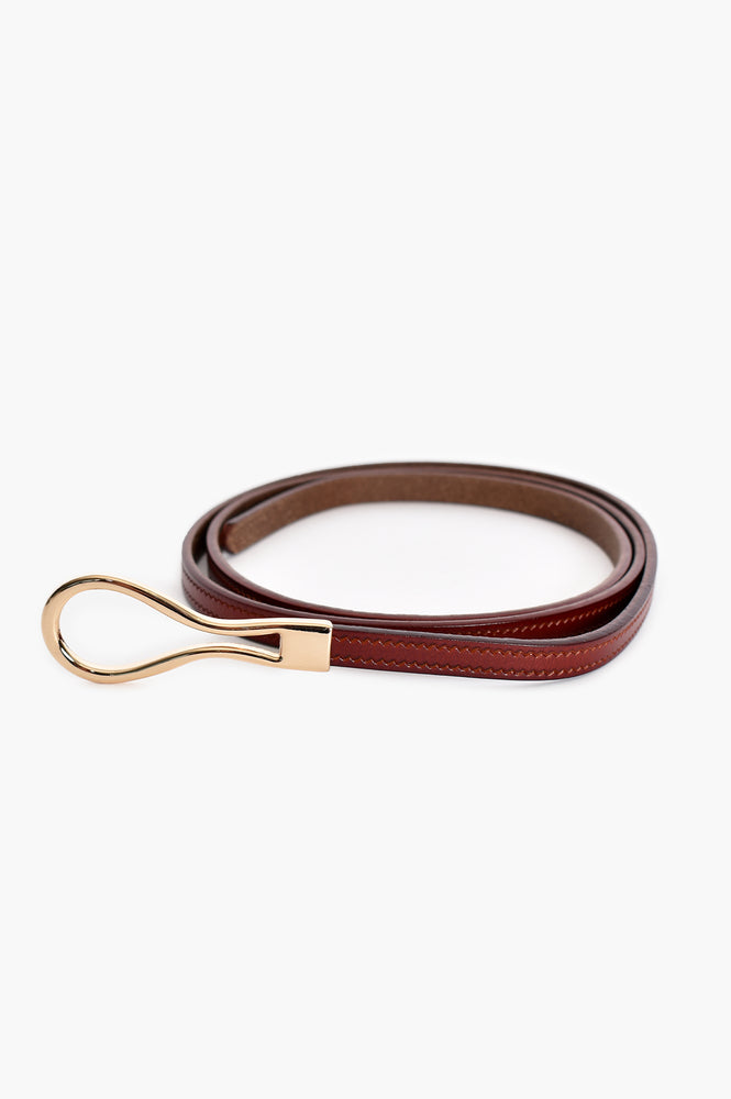 Loop Buckle Fine Leather Belt (Tan)