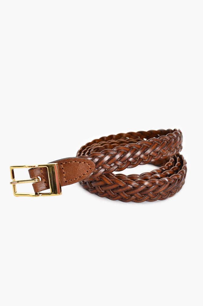 Rectangle Buckle Leather Plait Belt (Chocolate)