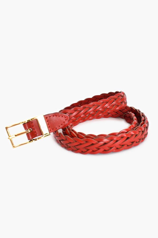 Rectangle Buckle Leather Plait Belt (Red)