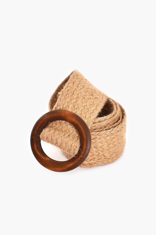 Hessian Weave Timber Buckle Belt (Natural)