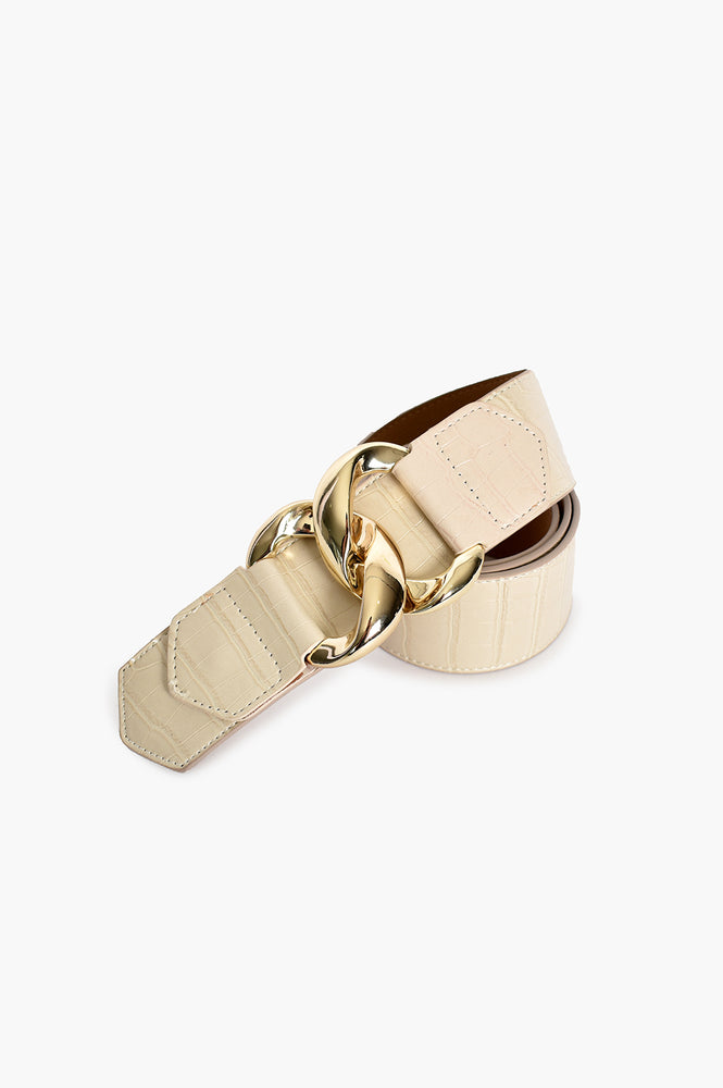 Linked Buckle Front Croc Waist Belt (Camel)