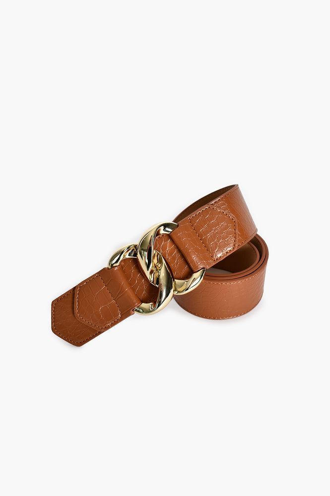 Linked Buckle Front Croc Waist Belt (Tan)