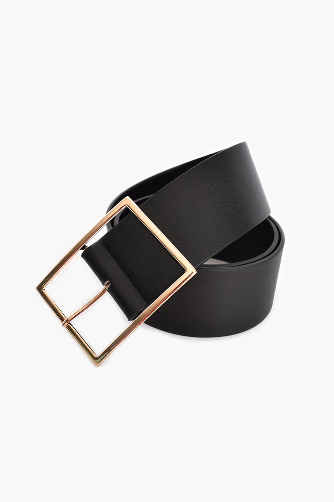 Wide Buckle Vegan Leather Belt (Black)
